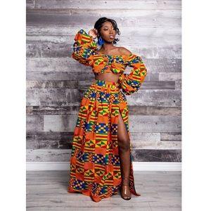 '2-piece Kente Maxi Skirt'-Ankara Style